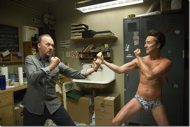 "Michael Keaton and Edward Norton in ""Birdman."""