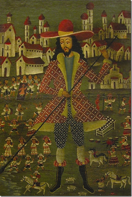 """San Ysidro the Laborer (c. 1850), by an anonymous Peruvian artist, at the Lowe's """"Conquest and Coexistence"""" exhibit."""