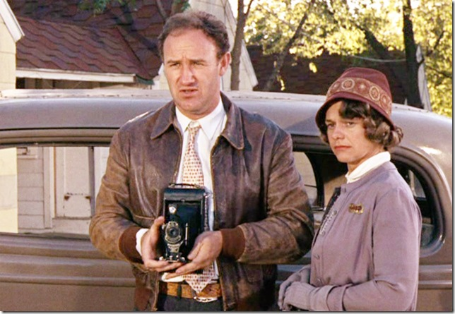 "Gene Hackman and Estelle Parsons in ""Bonnie and Clyde."""