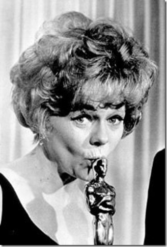 Estelle Parsons, on Oscar night in 1968, with her statuette for Bonnie and Clyde.