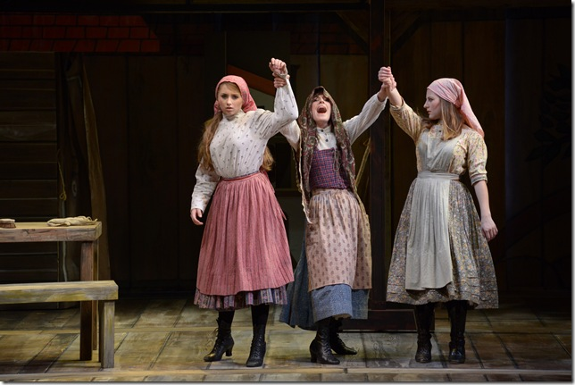 "Emily Rynasko, Sarah Stevens and Hannah Freeman in ""Fiddler on the Roof."" (Photo by Alicia Donelan)"