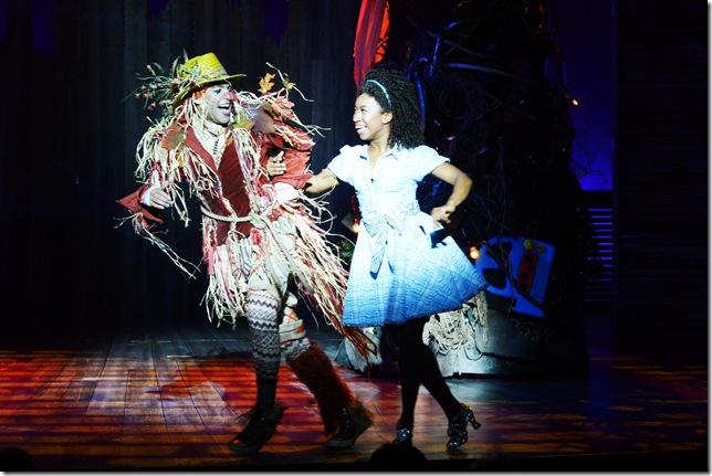 """The Scarecrow (David LaMarr, left) and Dorothy (Destinee Rea, right) in """"The Wiz,"""" now through Feb. 1 at the Maltz Jupiter Theatre. (Photo by Alicia Donelan)"""