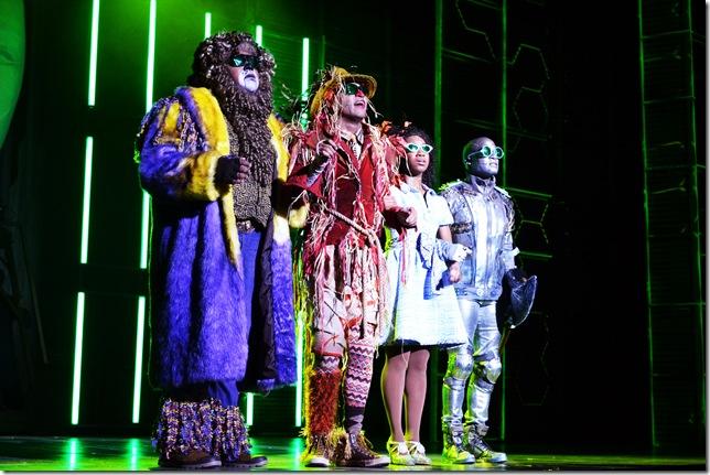 "Trevor Dion Nicholas, David LaMarr, Destinee Rea and Tyrick Wiltez Jones in""The Wiz."" (Photo by Linnea Bailey)"