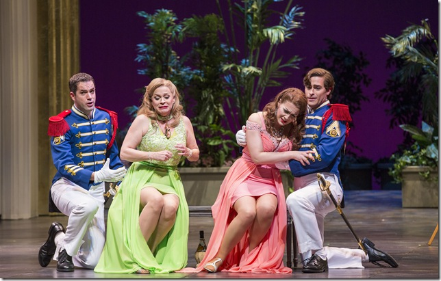 "Jonathan Beyer, Sari Gruber, Brenda Patterson and Jason Slayden in ""Così fan Tutte."" (Photo by Rod Millington)"