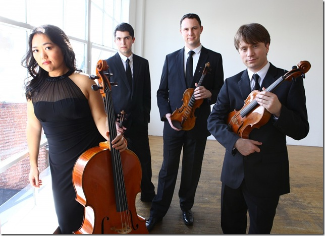 The Calidore String Quartet: Estelle Choi, Ryan Meehan, Jeffrey Myers and Jeremy Berry.