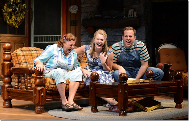 "Brooks Anne Hayes, Maddie Jo Landers and Matthew Minor in ""The Foreigner,"" at The Maltz Jupiter Theatre. (Photo by Alicia Donelan)"