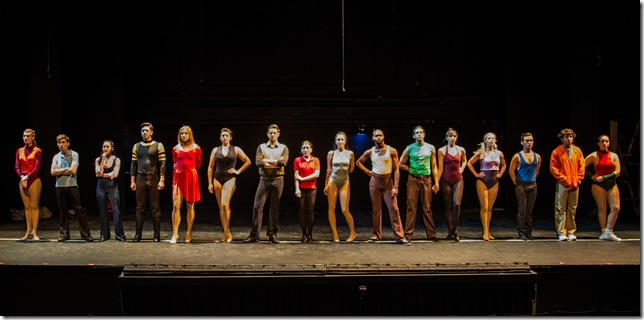 "The cast of ""A Chorus Line,"" at Broward Stage Door Theater. (Photo by George Wentzler)"