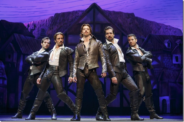Christian Borle (center) as William Shakespeare, flanked by, from left: Ryan VanDenBom, Eric Sciotto, Bud Weber and Aleks Pevek. (Photo by Joan Marcus)