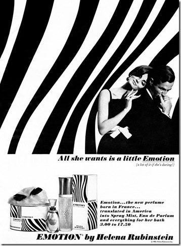 A 1965 advertisement for Helena Rubinstein's scent Emotion.