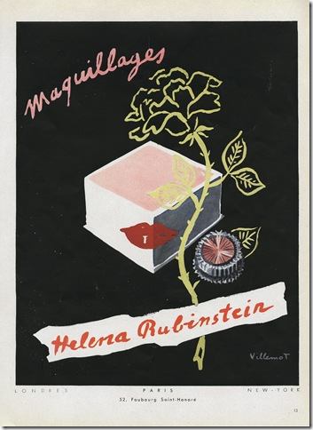 A 1949 French advertisement for Helena Rubinstein cosmetics.