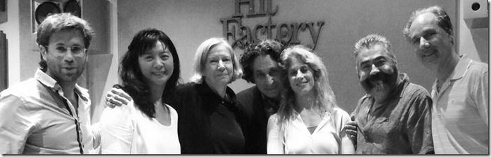From left, the Delray String Quartet at its Danielpour recording session: Tomas Cotik, Mei Mei Luo, Judith Sherman, Richard Danielpour, Hila Plitmann, Richard Fleischman and Claudio Jaffé. (From Facebook)