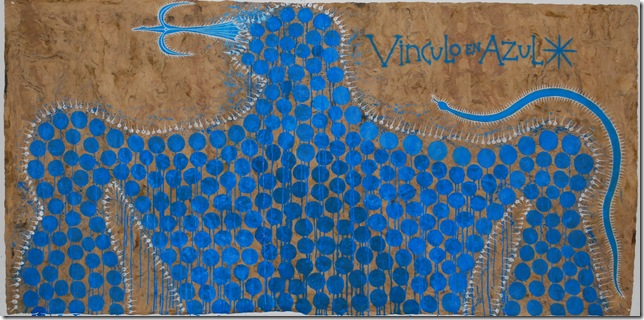 """""""Vinculo en Azul,"""" by José Bedia."""
