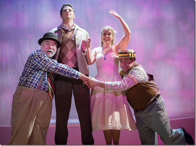"""From left: Larry Bramble, Alexander Zenoz, Molly Anne Ross and Alan Gerstel in """"The Fantasticks."""" (Photo by George Wentzler)"""