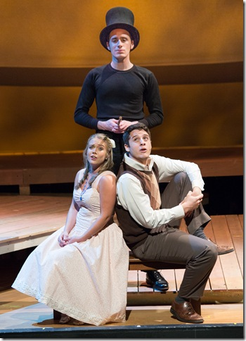 """From left: Molly Anne Ross, Alexander Zenoz and Pierre Tannous (standing) in """"The Fantasticks."""" (Photo by George Wentzler)"""