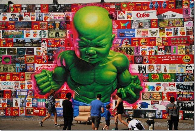 """""""Temper Tot,"""" mural by Ron English."""