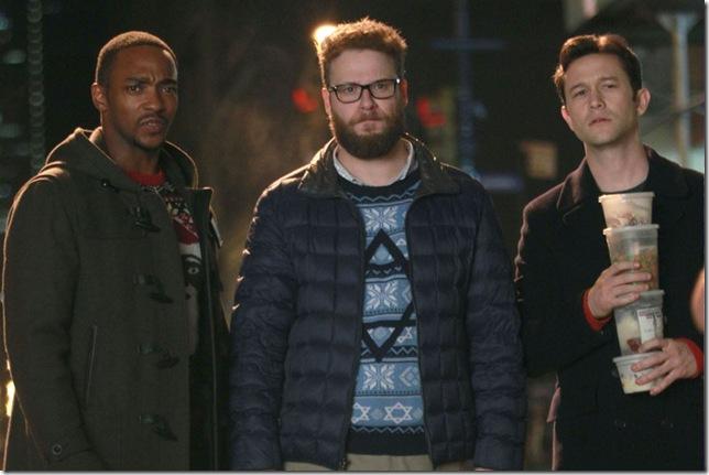 "Anthony Mackie, Seth Rogen and Joseph Gordon-Levitt in ""The Night Before."""