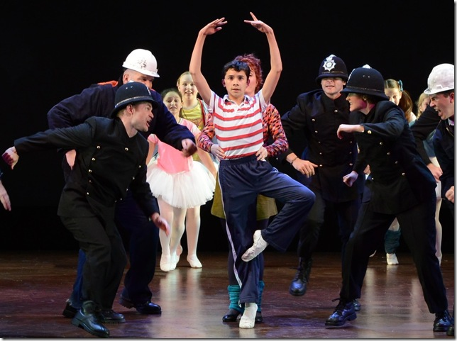 "Nicholas Dantes (center) as the title character in Elton John's ""Billy Elliot,"" showing through Dec. 20 at the Maltz Jupiter Theatre. (Photo by Alicia Donelan)"