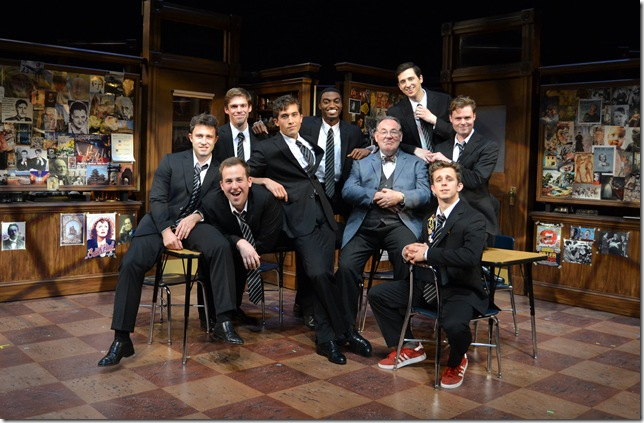 "Back row, from left: Nathan Stark, Jelani Alladin and Kyle Branzel; front row, from left: Mike Magliocca, Matthew Minor, Colin Asercion, Colin McPhillamy, Kristian Bikic and John Evans Reese, in ""The History Boys."" (Photo by Samantha Mighdoll)"