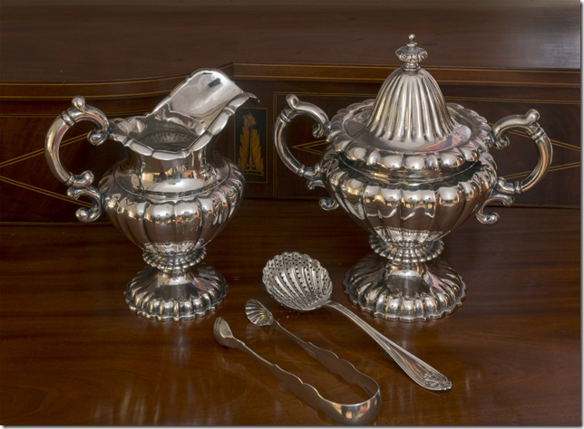 Cream and sugar set (c. 1840) by James Spear & Co., with items made by Hayden & Whilden and George W. Shiebler. (Courtesy Rivers Collection, photo by Jack Alterman)