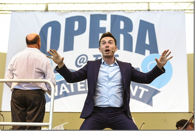 Andrew Bogard sings at the Palm Beach Opera waterfront concert.