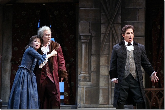 Asako Tamura as Amalia, Young Bok Kim as Massimiliano, and Michael Corvino as Francesco in the 2006 production of Verdi's