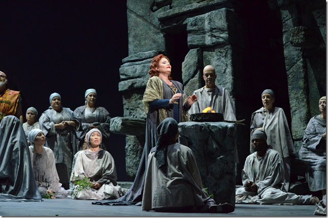 "Mlada Khudoley and chorus in ""Norma"" at Florida Grand Opera. (Photo by Brittany Mazzurco Muscato)"