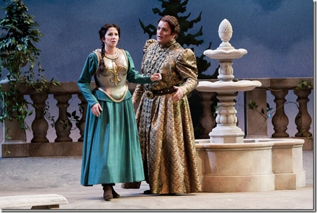 "Cristina Castaldi and Rafael Davila in Sarasota Opera's 2010 production of Verdi's ""Giovanna d'Arco."" (Photo by Rod Millington)"