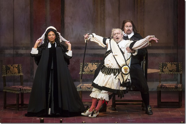 "Janai Brugger, Carlo Lepore and Lucas Meachem in ""Don Pasquale."""