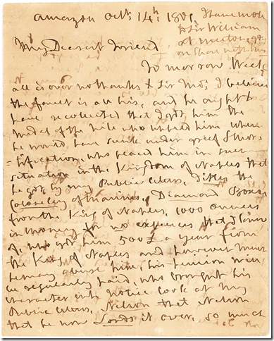 A letter from Horatio, Lord Nelson, to his mistress Emma, Lady Hamilton, written aboard the Amazon on Oct. 14, 1801. (Lion Heart Autographs, New York)