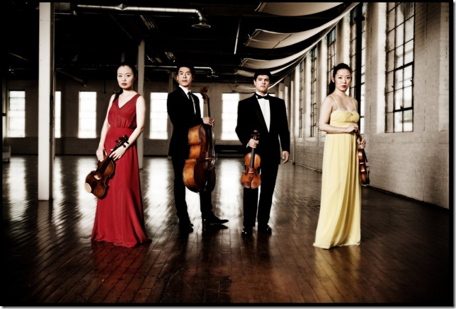 The Vega String Quartet: Yinzi Kong, Guang Wang, Domenic Salerni and Jessica Shuang Wu.