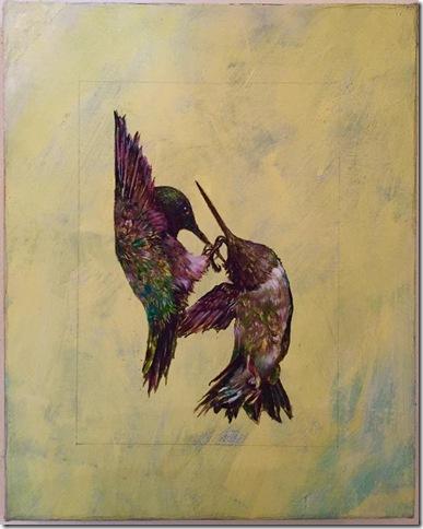 Hummingbirds on Yellow, by Laura Tan.