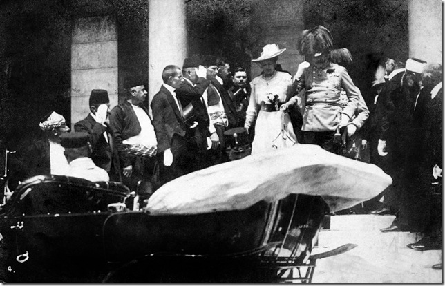 Archduke Franz Ferdinand and his wife, Sophie, leave Sarajevo Town Hall on June 28, 1914, moments before being assassinated.
