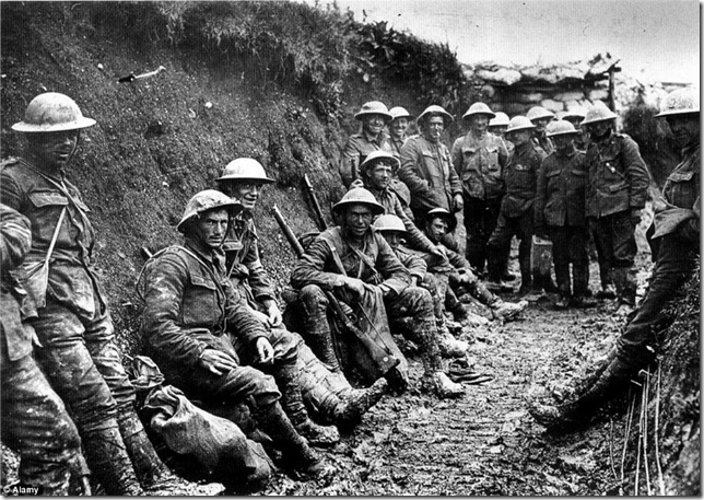 French soldiers in the trenches during World War I.