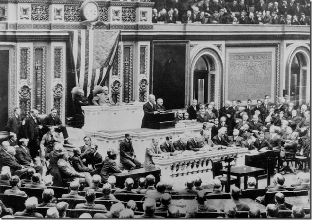 President Woodrow Wilson addresses Congress on April 2, 1917. (Associated Press)