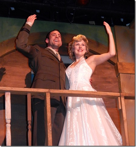 "Rick Hvizdak and Jenna Pastuszek in ""Evita"" now playing at the Broward Stage Door Theater. (Photo by George Wentzler)"