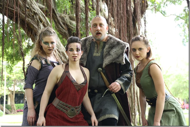 """Shannon Ouellette, Samantha Kaufman, Ross Frawley and Brianna Handy star in """"King Lear"""" at Florida Atlantic University in Boca Raton. (Photo by Viviana Puga)"""