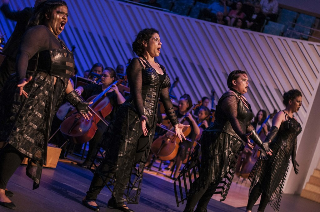 From left: Rehanna Thelwell, Jennifer Root, Elizabeth Rosenberg and Jillian Yemen as Valkyries in Die Walkure at the Miami Music Festival in Miami Beach on Saturday night.