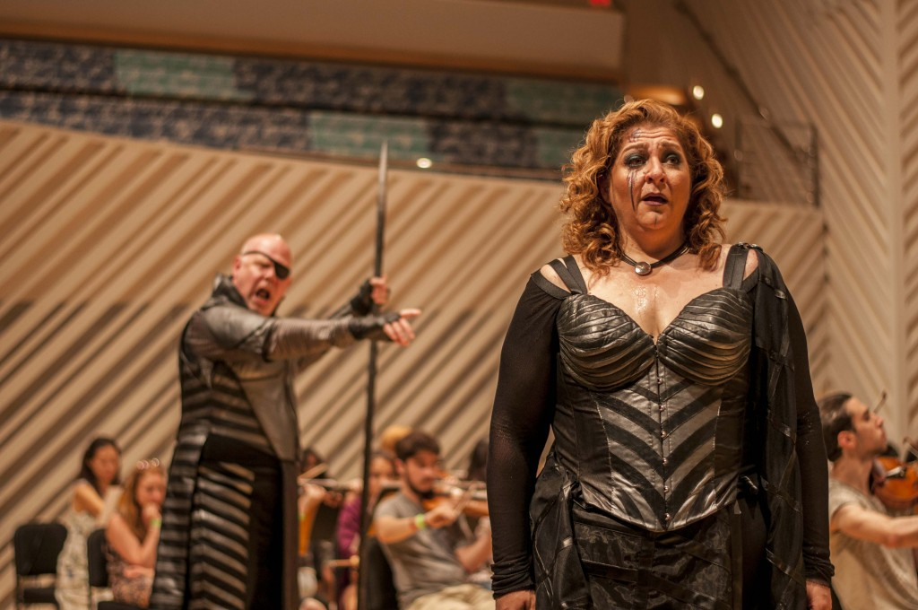 Alan Held and Christine Goerke in Die Walküre in rehearsal at the New World Center in Miami Beach.