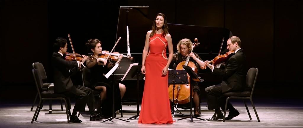 From left: Violinists Yang Xu and QianQian Li, soprano Chen Reiss, cellist Kari Jane Docter and violist Dov Scheindlin.