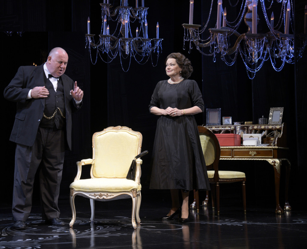Colin McPhillamy as Winston Churchill and Karen MacDonald as Queen Elizabeth II in The Audience. (Photo by Alicia Donelan)