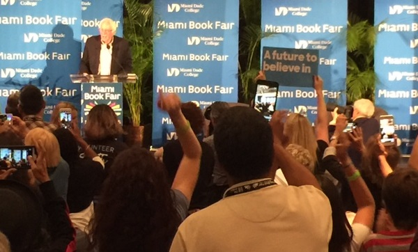 U.S. Sen. Bernie Sanders of Vermont speaks Saturday night to an enthusiastic crowd at the Miami Book Fair. (Photo by Chauncey Mabe)