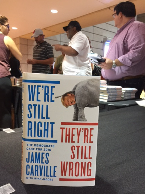 """Copies of James Carville's """"We're Still Right, They're Still Wrong"""" were on sale Monday at the Miami Book Fair. (Photo by Chauncey Mabe)"""