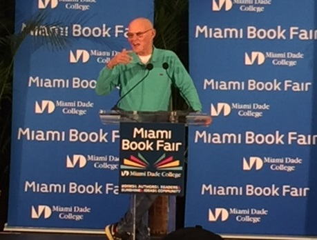 James Carville speaks Monday at the Miami Book Fair. (Photo by Chauncey Mabe)