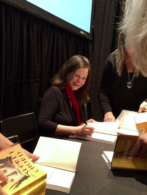 Geraldine Brooks signs The Secret Chord on Tuesday evening at the Miami Book Fair. (Photo by Chauncey Mabe)