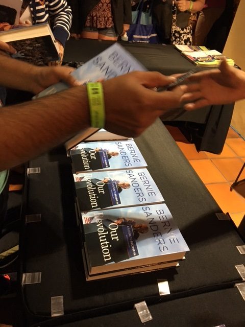 Copies of Bernie Sanders's book, Our Revolution, were on sale Saturday night at the Miami Book Fair. (Photo by Chauncey Mabe)