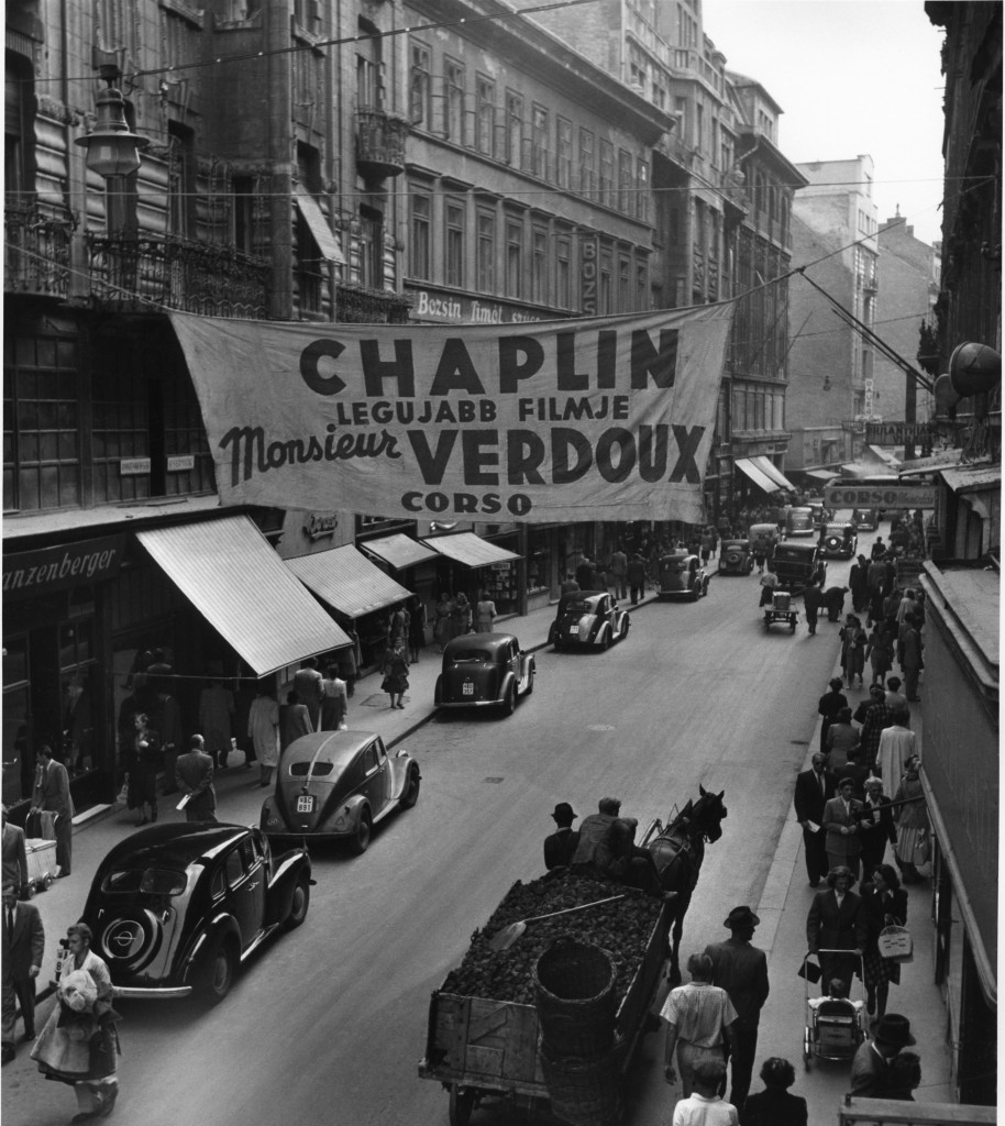 Advertisement of Chaplin's Latest Film on Váci Street (1948), by Robert Capa.