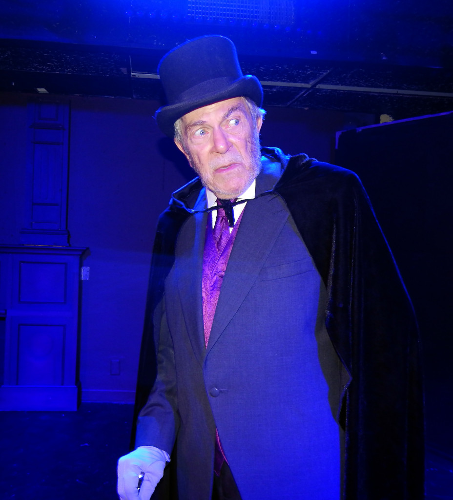 Jim Gibbons as Ebenezer Scrooge in The Christmas Carol at Sol Theatre. (Photo by Carol Kassie)