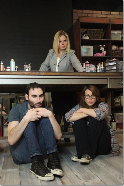 From left: Nicholas Wilder, Deborah Kondelik and Elizabeth Price in Reborning. (Photo by Michael B. Lloyd)