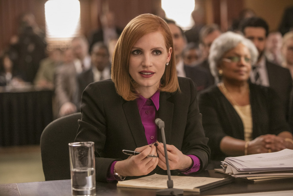 Jessica Chastain in Miss Sloane. (Photo by Kerry Hayes)