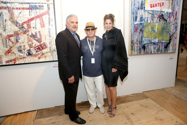 Nick Korniloff, Bernie Taupin and Pamela Cohen at Art Miami.